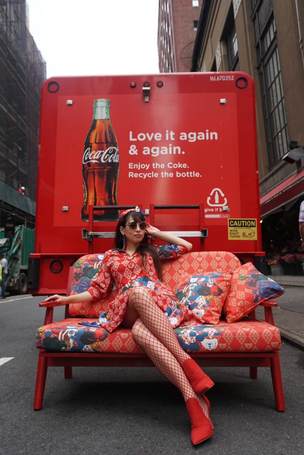 Red Sofa with Coca Cola in NY